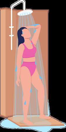 Girl taking shower Illustration