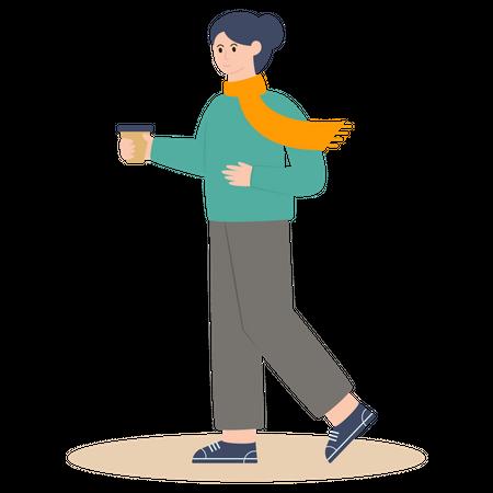 Girl Taking Tea Illustration