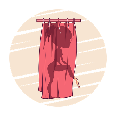 Girl taking the bath behind the curtain Illustration