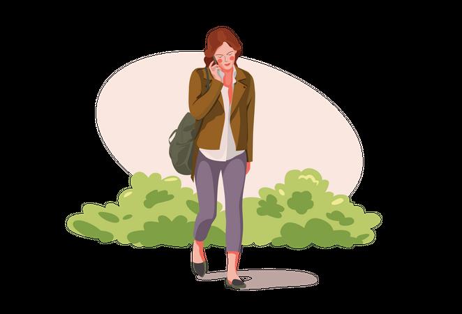 Girl talking on the phone Illustration