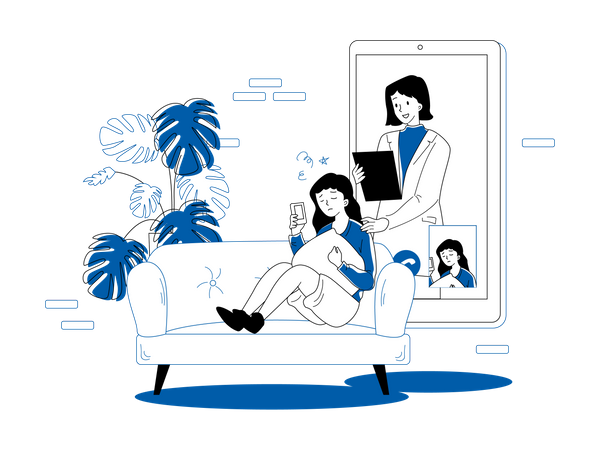Girl talking on video call with doctor Illustration