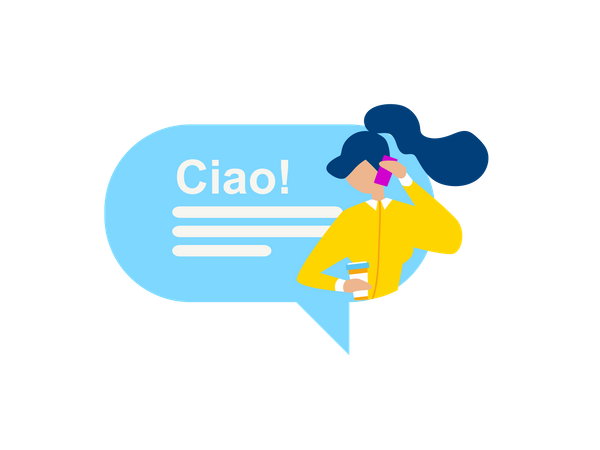 Girl talking over phone in spanish Illustration