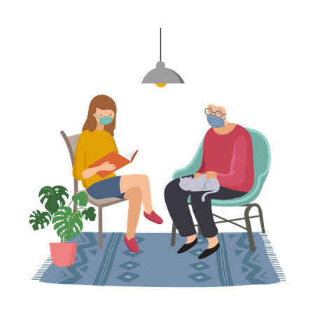 Girl telling story to her grandmother Illustration