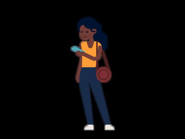 Girl texting on mobile Illustration