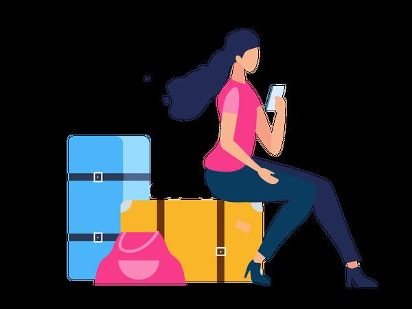Girl texting on mobile while sitting on bag Illustration