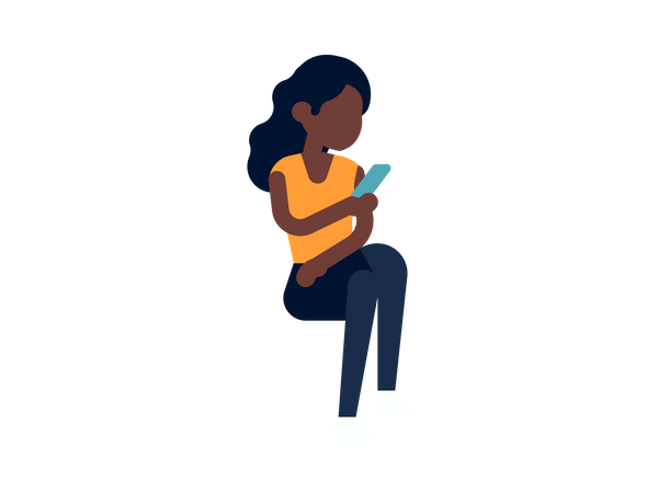 Girl texting to a friend on her phone Illustration