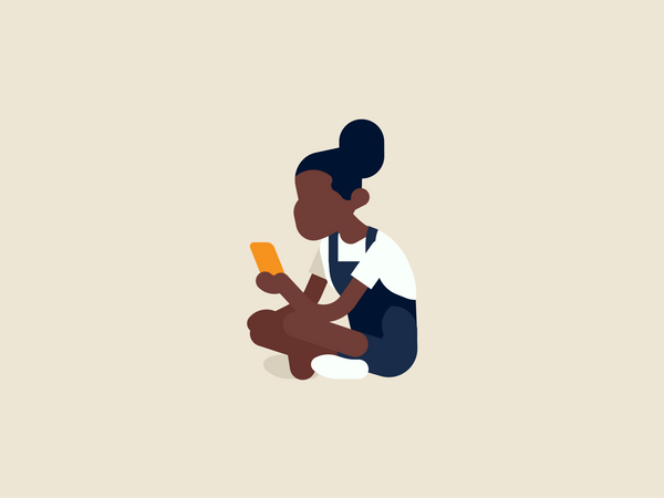Girl texting to her friend Illustration