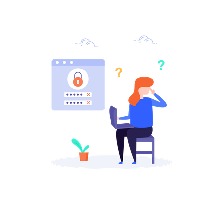 Girl thinking her user id and password Illustration