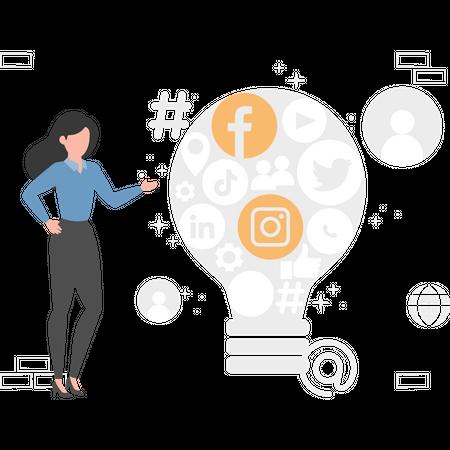 Girl thinking idea about digital marketing Illustration