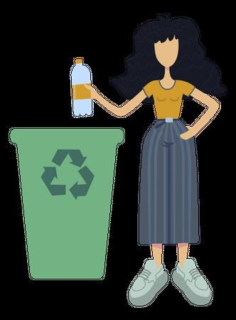Girl throwing plastic into recycle bin Illustration