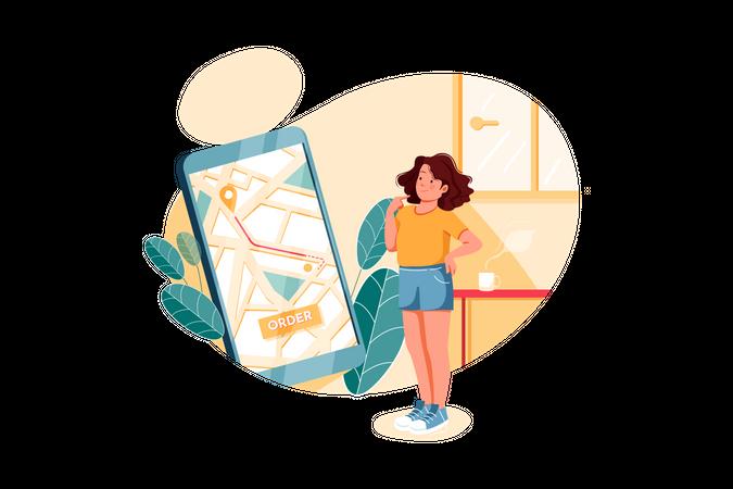 Girl tracking her order Illustration