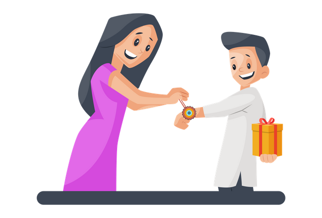 Girl tying rakhi to his brother Illustration