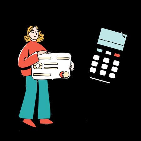 Girl using credit card Illustration