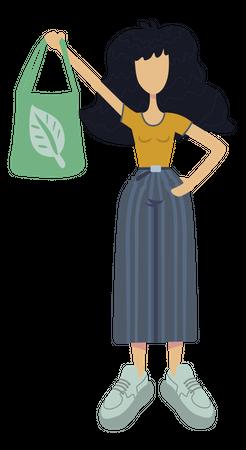 Girl using environment friendly bag Illustration