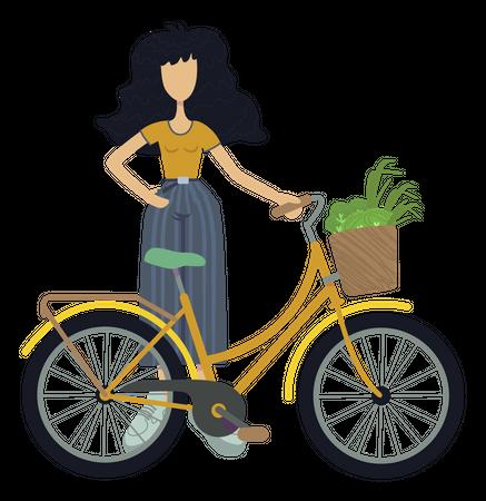 Girl using environment friendly bike Illustration