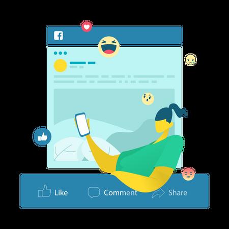 Girl using Social media Illustration