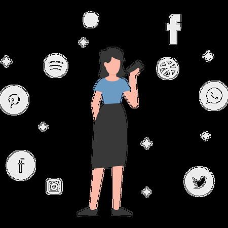 Girl using social media apps Illustration
