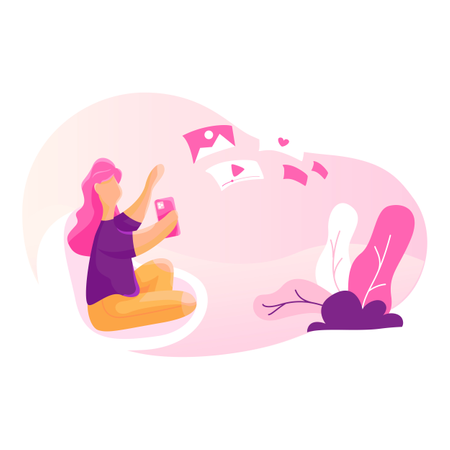 Girl using social media features Illustration