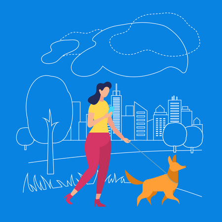 Girl Walk with Pet in Park, Summertime in City Illustration