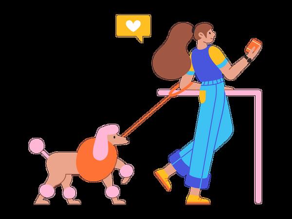 Girl walking with dog Illustration