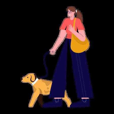 Girl walking with pet Illustration
