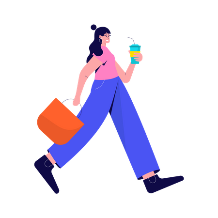 Girl walking with takeaway cup Illustration