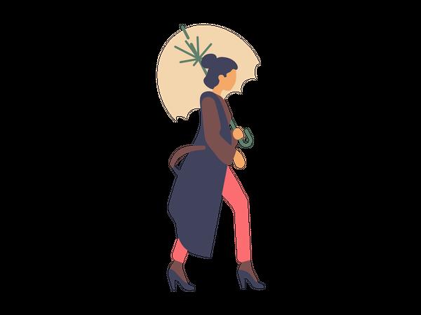 Girl walking with umbrella Illustration