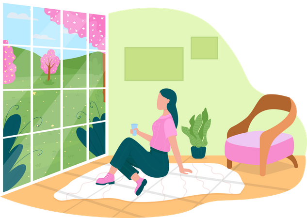 Girl watching spring flowers through home window Illustration