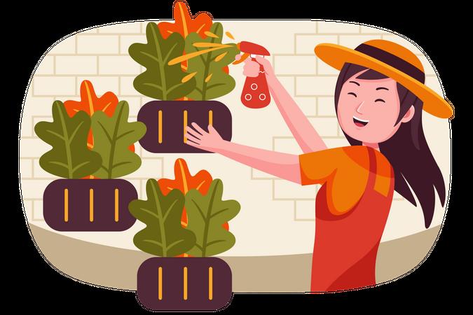 Girl watering plants Illustration