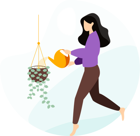 Girl watering the plant Illustration