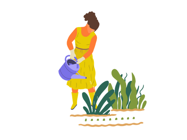 Girl watering to plant Illustration