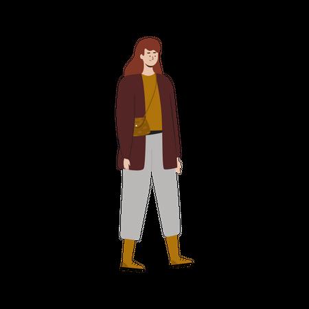 Girl wearing autumn clothes Illustration