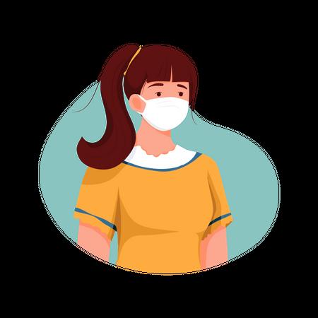 Girl Wearing Face mask Illustration