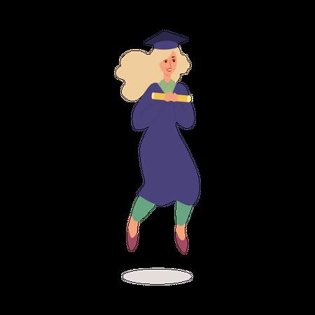 Girl wearing graduation robe jumping in air Illustration