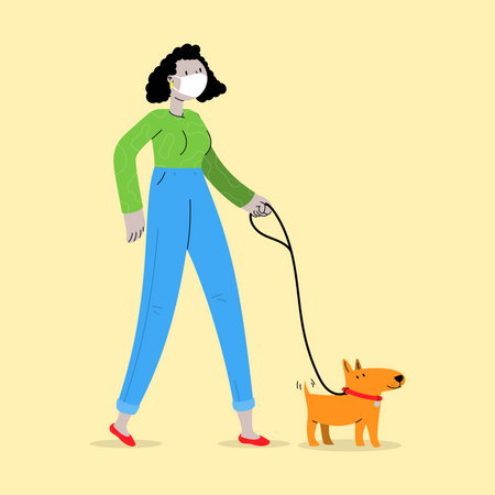Girl Wearing Mask and walking with Dog Illustration