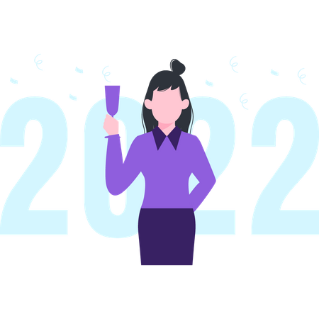 Girl welcoming new year with raising a toast Illustration