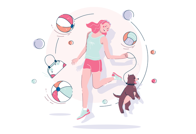Girl with a dog Illustration
