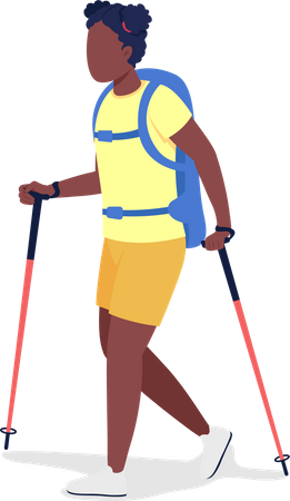Girl with backpack on Mountain trip Illustration