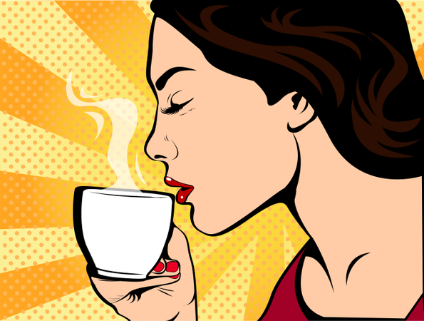 Girl with Cup of coffee pop art retro style. Restaurants and coffee shops. A hot beverage. Courage love and care. Illustration