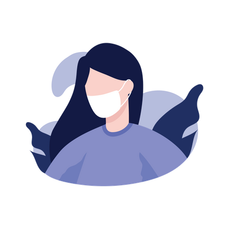 Girl with face mask Illustration