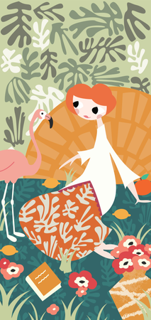 Girl with flamingo and Henri Matisse inspired decoration Illustration
