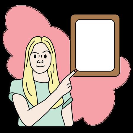 Girl with idea frame Illustration