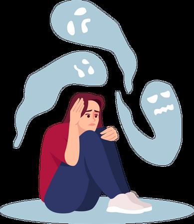 Girl with mental disorder Illustration