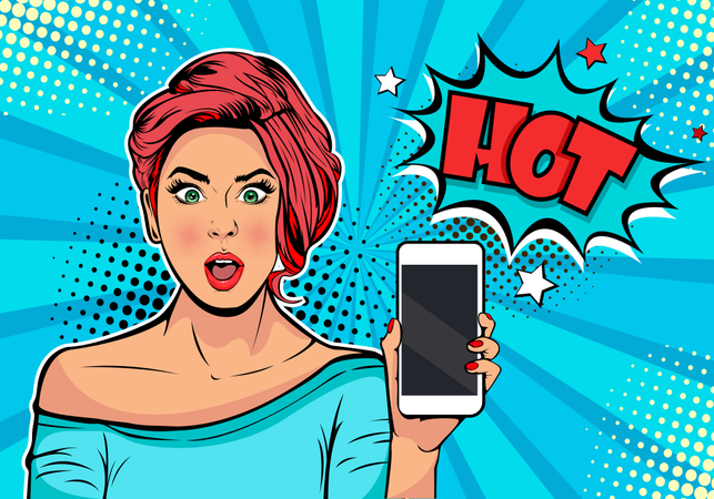 Girl with phone in the hand and discription Hot Illustration