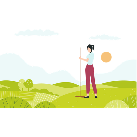 Girl with pitchfork standing in farm Illustration