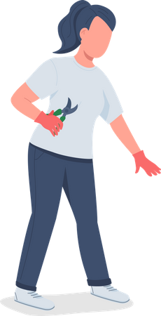 Girl with pruning shears Illustration
