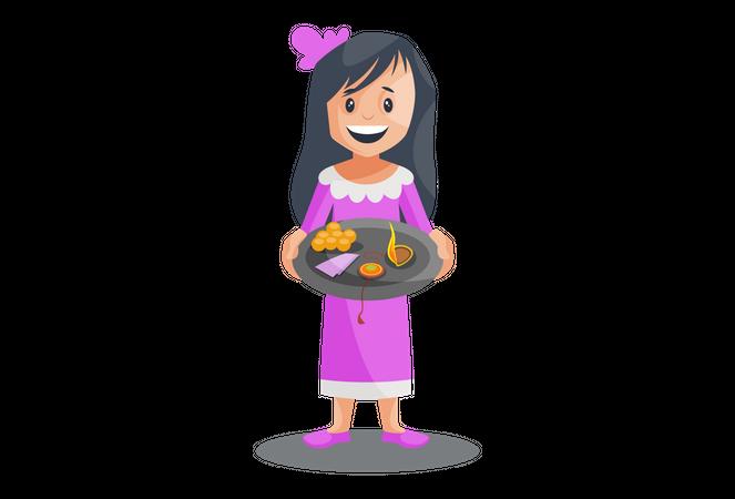 Girl with rakhi and pooja thali Illustration
