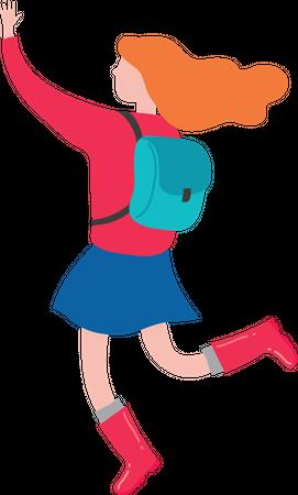 Girl With school Bag Illustration