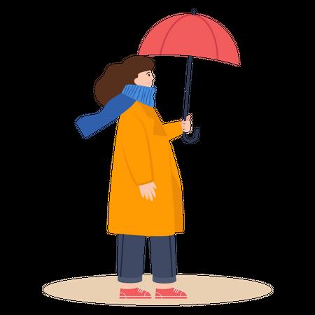 Girl with umbrella Illustration