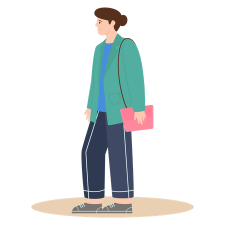 Girl with Winter Clothes Illustration
